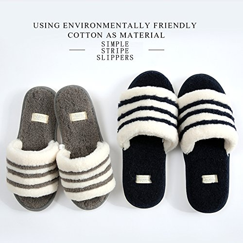Gray Slippers Men Women Casual Home Cotton Flax Asifn Massage Indoor House Cozy Foam Dark Memory gnxESR6qB