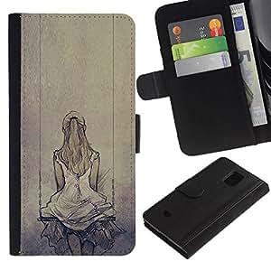 All Phone Most Case / Oferta Especial Cáscara Funda de cuero Monedero Cubierta de proteccion Caso / Wallet Case for Samsung Galaxy S5 Mini, SM-G800 // Melancholia Sad Swing Drawing