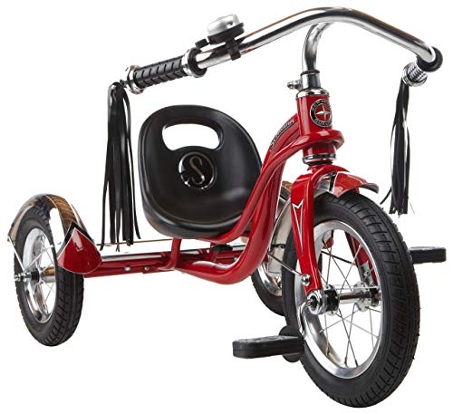 Schwinn Roadster Tricycle with Classic Bicycle Bell and Handlebar Tassels, Featuring Retro Steel Frame and Adjustable Seat, for Children and Kids Ages 2-4 Years Old, Red (Renewed)