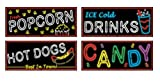 Neon Food Sign Cutouts Party Accessory (1 count) (4/Pkg), Health Care Stuffs