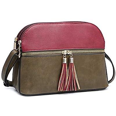 Functional Multi Pockets Lightweight Crossbody Bags Purses for Women, Double Zipper Women Shoulder Messenger Bag with Tassel