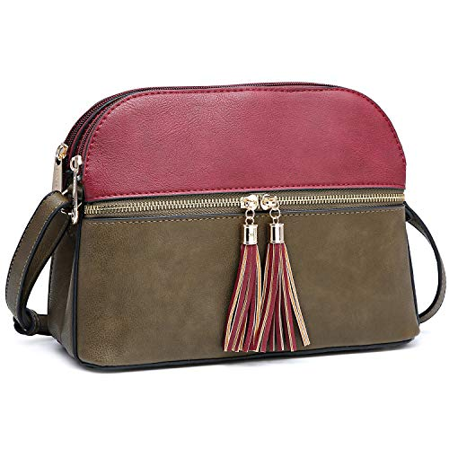 Top Zip Cross Body - Functional Multi Pockets Lightweight Medium Crossbody Bags Purses for Women Double Zipper Shoulder Messenger Bag with Tassel (Burgundy/Soil)