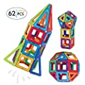 Honest Abe Magnetic Toys Building Shapes Set for Kids - Educational Toy Kits with Bonus Storage Bag - A Great Stem Toy for Boys and Girls - 62 Pieces