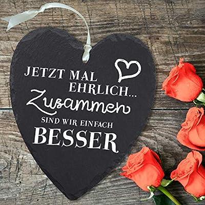 Pizarra corazón – Ahora vez honesto: pizarra decorativa corazón con grabado – pizarra vintage grande como regalo para novia, regalo para novios – regalos para aniversario de boda, día de San Valentín