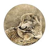 Hawaiian Waves Non-Slip Soft Rug Mats Wolf Animal Predator Seat Cushion (16 Inch) Circular Chair Cushions Pad Stool Cover