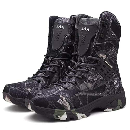 Bitiger Men's Military Boots Four Seasons Waterproof Camouflage Outdoor Sports Breathable Non-Slip Shoes Tactical Tooling Combat Boots