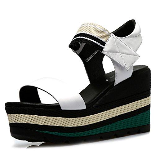 tamaño impermeables A planos verano con Tamaño Color A Sandalias de Aumentado opcionales de opcional alto zapatos del Zapatos 3 gruesos salvajes los Cómodo colores Pendiente tacón sandalias wRSwIq