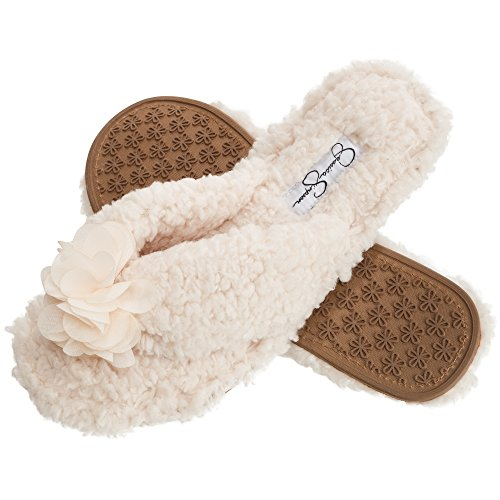 Jessica Simpson Plush Cozy Faux Shearling Thong Slide On Women's Slippers With Flowers (Medium, Ivory Slipper)