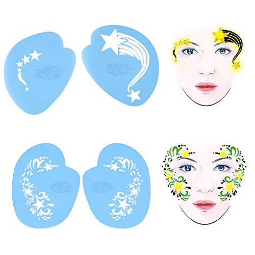 (Reusable Face and Body Paint Stencilsn - 7styles/set Painting Painting Template Flower Butterfly Facial Design Drawing Templates for Parties, Christmas, Halloween, Carnivals, Christmas)