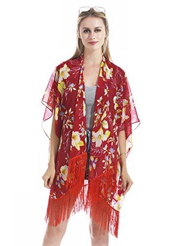 Hifand Women Bathing Suit Cover up Beach Bikini Swimsuit Swimwear Kimono Cardigan Tassel Vintage Tulip Lily Floral (Lily Kimono Sleeve Dress)