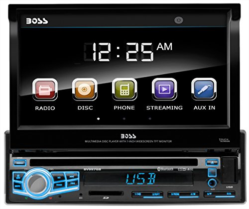"BOSS Audio BV9976B Car DVD Player - Single Din, Bluetooth Audio & Hands-Free Calling, Built-in Microphone, CD/MP3/USB/SD Aux-in, AM/FM Radio Receiver, 7"" Digital LCD Display, Multi-color Illumination"