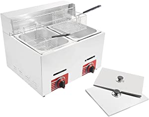 HOMIER Commercial Gas Deep Fryer 10L*2 with 2 Basket and Lids Cover Stainless Steel Countertop Propane-LPG GF-72 Propane (LPG) W/Metal Tube Outdoor Big Double Deep Fryer for Restaurant Home Kitchen