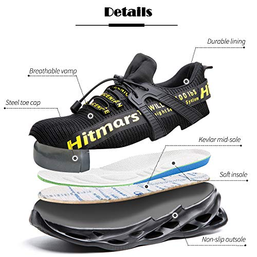 Hitmars Mens Safety Trainers with Steel Toe Cap Breathable Safety Shoes for Women Lightweight IndistructableConstruction Black Blue Grey Green Size UK 3-13