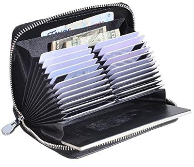 Easyoulife Genuine Leather Credit Card Holder Case RFID Travel Passport Wallet