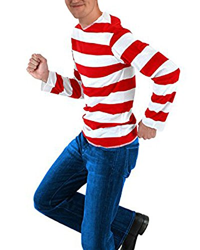 STYLEWORD Where's Waldo Men'Long Sleeves Halloween Stripe T-Shirt(Striped01,M)]()