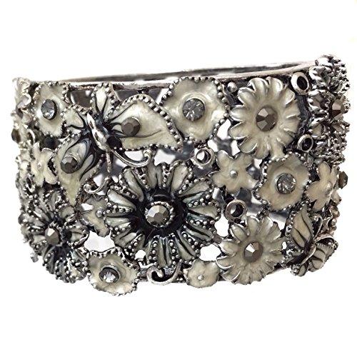Gypsy Jewels White Black Enamel Flower Butterfly Rhinestone Crystal Wide Hinged Bangle Bracelet