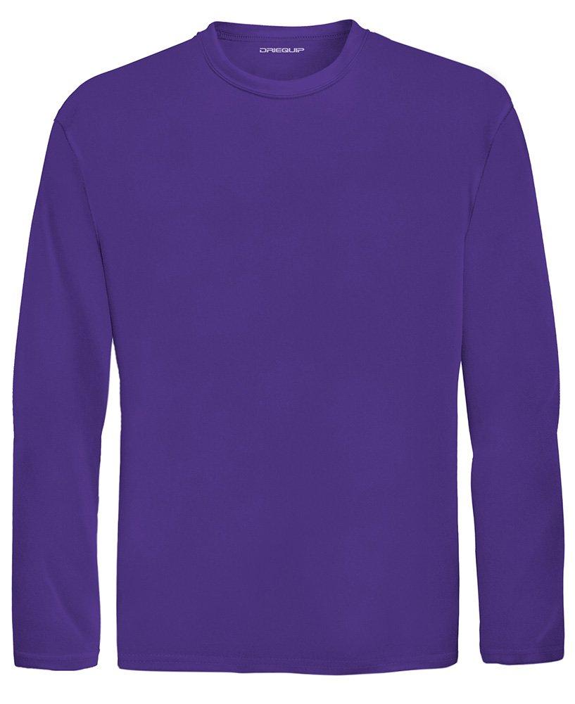 DRI-Equip Youth Long Sleeve Moisture Wicking Athletic Shirts,XS-Purple by Joe's USA