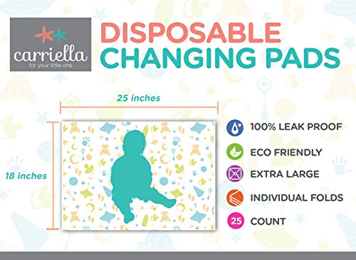 Carriella Disposable Changing Pads 25 Extra Large 24 X 18