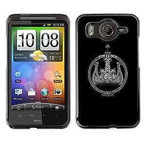 TopCaseStore / la caja del caucho duro de la cubierta de protección de la piel - Ship Wreath Black White - HTC G10