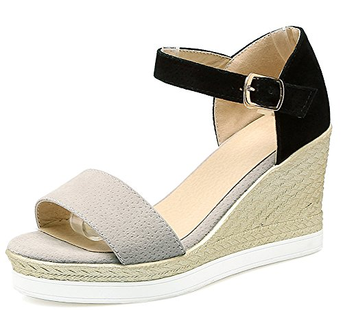Aisun Women's New Ankle Strap High Wedge Heels Faux Suede Sandals Gray Q0eB3G45