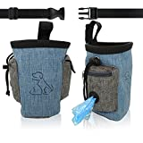 Dilight Dog Treat Training Pouch Large Bag, Side Pocket with Poop Bag Dispenser, Waist Belt, Blue