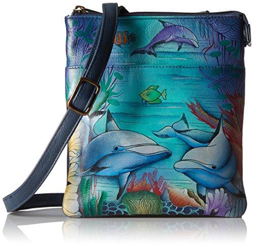 (Anuschka Women's Leather RFID Blocking Triple Compartment Travel Organizer, Dolphin World)