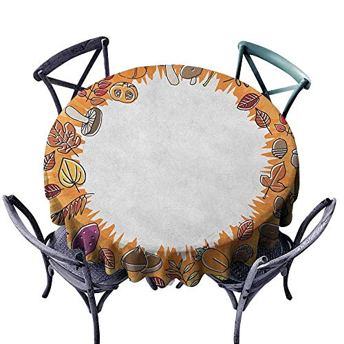 (Mannwarehouse Harvest Easy Care Tablecloth Circular Frame with Dried Leaves Nuts Mushrooms Persimmon Environment Food Easy Care D55 Orange Multicolor)