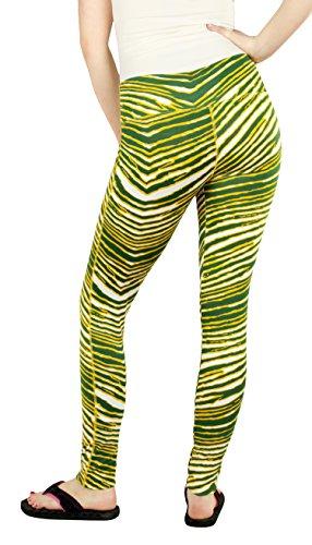 Zubaz Green Bay Football Women's Green Gold Team Color Zebra Print Legging
