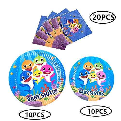 Baby Shark Themed Party Supplies Set - Baby Shark Plates and Napkins | Magical Baby Shark Birthday Party Decorations for Girls and Baby Shower -