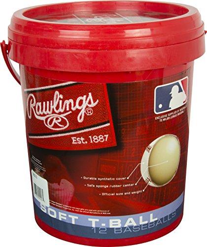 Rawlings Youth T-Ball 6U Baseballs & Bucket, 12 Count, TVB by Rawlings