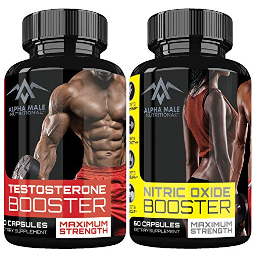 Alpha Male Combo Punch with Testosterone Booster & Nitric Oxide Booster - Stamina - Endurance - Strength - Fortifies Metabolism - Promotes Healthy Weight Loss, Fat Burning and Build More Muscle