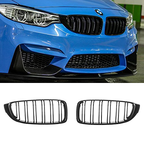 Front Kidney Grill - GT-Speed Made for 14-17 BMW F32 F33 F36 F80 F82 F83 4-Series 428i 435i Coupe 2dr M4 M3 Look Gloss Black Front Kidney Grille Grill