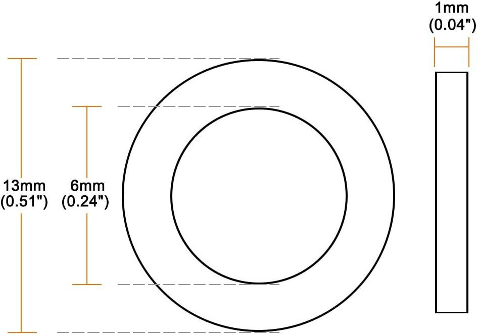 sourcing map 50Stk Nylon Flache Unterlegscheiben M3 Schraubenbolzen 13mm OD 0.9mm dick klar