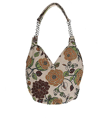 Pulama Handmade Blooming Flowers Shoulder Bag,Vintage Handbag in Leisure Village Life (Brown) by PULAMA