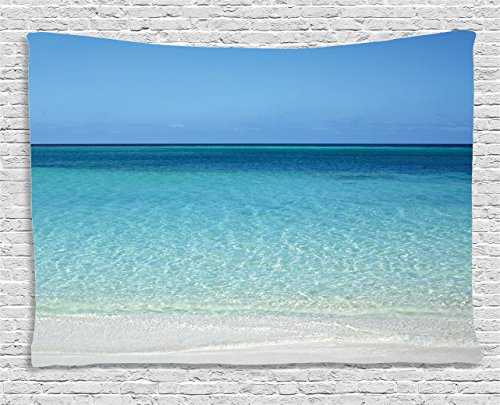 Water Wall Collection (Ambesonne Ocean Decor Collection, Clear Water at the Beach in Atlantic Sea Cuba Coasts with Fantastic Sky Scenery Art, Bedroom Living Room Dorm Wall Hanging Tapestry, 60W X 40L Inch, Cream Turquoise)