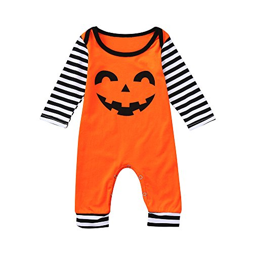 yijiamaoyiyouxia Newborn Baby Halloween Clothes Long Sleeve Cartoon Print Romper Striped Jumpsuit (Orange, 80) -