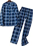 Mens Plaid Flannel Pajamas, 100% Cotton Pj Set Long Sleeves Sleepwears-Bluegrid-M
