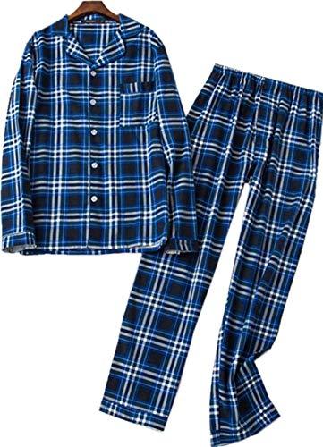 Mens Plaid Flannel Pajamas, 100% Cotton Pj Set Long Sleeves ()