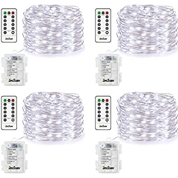 4 Pack Fairy Lights Fairy String Lights Battery Operated Waterproof 8 Modes  Remote Control 50 Led