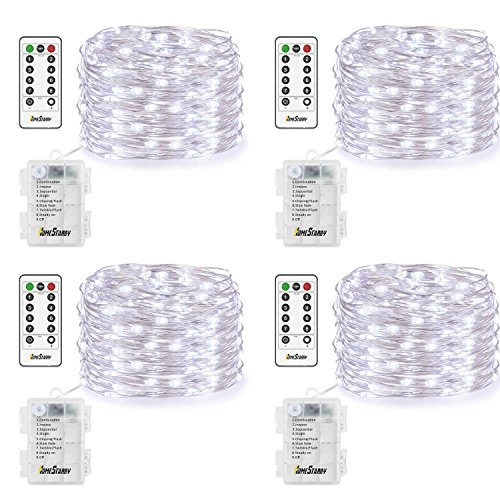 (4 Pack Fairy Lights Fairy String Lights Battery Operated Waterproof 8 Modes Remote Control 50 Led String Lights 16.4ft Silver Wire Firefly lights for Bedroom Wedding Festival Decor (Cool White))
