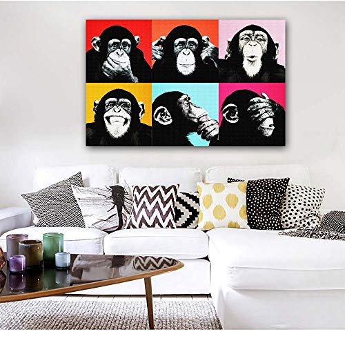 """Faicai Art Andy Warhol Colorful Banksy Graffiti Monkey Paintings Animal Pop Art Wall Poster and Prints Canvas Printing Paintings for Living Room Wall Art Home Decor Cuadros Pictures Framed 24""""x36"""""""