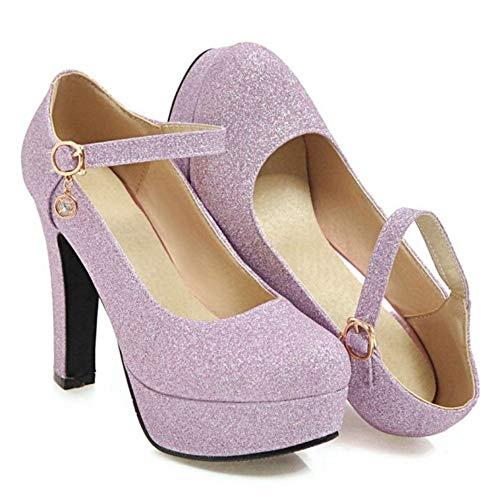 4 Femmes à Cheville Talons TAOFFEN Escarpins Violet Chaussures Bride 1qw8a7