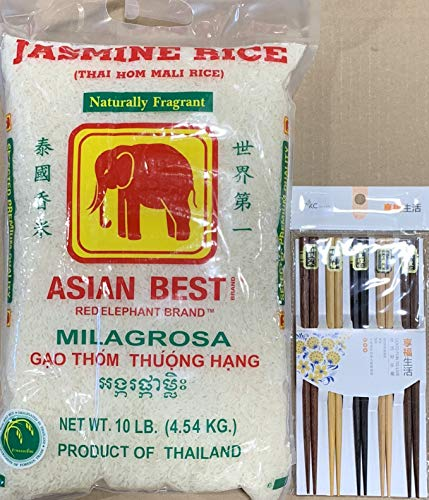 Elephant Brand Thai Jasmine Rice 10lb With FREE Gift ( 5 Pairs Natural Bamboo Chopsticks) By KC Commerce (Best Thai Jasmine Rice Brand)