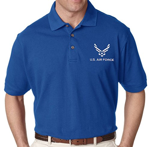 USAF U.S. Air Force embroidered polo shirt (XL) Blue - Air Force Embroidered Polo Shirt