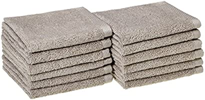 AmazonBasics Quick-Dry Washcloth - 100% Cotton, 12-Pack, Platinum