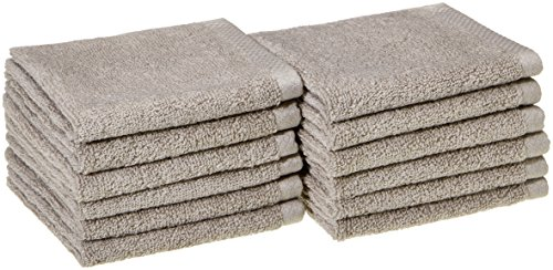 AmazonBasics Quick-Dry Bathroom Washcloth, 100% Cotton, Set of 12, Platinum