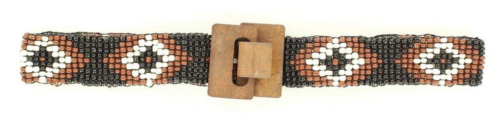 Nocona Girl's Stretch Beaded Diamond Pattern Belt, Black, S/M