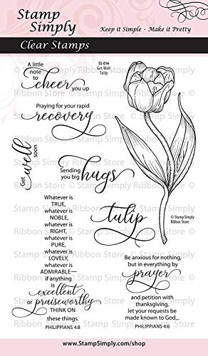 Stamp Simply Clear Stamps Get Well Soon Tulip Garden Flower Christian Religious 4x6 Inch Sheet - 8 Pieces