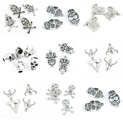 (33 Pieces Antique Silver Tone Jewelry Making Charms Skull Head Flat Cow Bull Fleur De Lis Fire Skulls Loose Beads Pirate Flag)