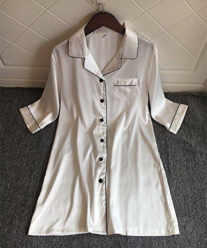 DavDoy Muelle de la Mujer Blanca de Seda Seda Camisa Manga ...